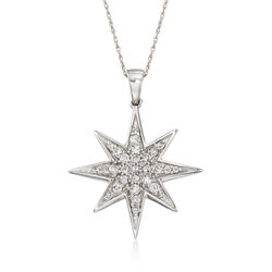 Diamond Star Pendant Necklace in 14kt White Gold, , default