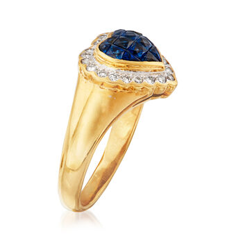C. 1980 Vintage .75 ct. t.w. Sapphire and .25 ct. t.w. Diamond Heart Ring in 18kt Yellow Gold. Size 7.5
