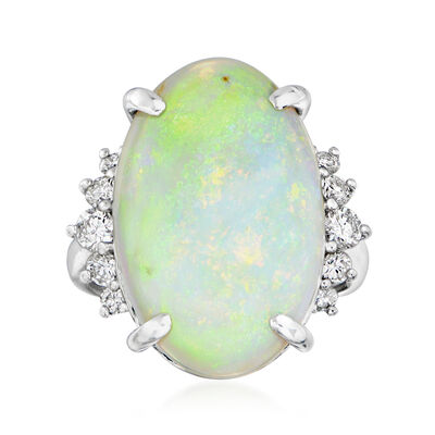 C. 1980 Vintage Opal and .54 ct. t.w. Diamond Ring in Platinum