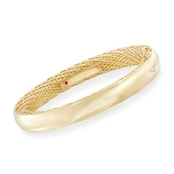 """Roberto Coin Golden Gate Bangle Bracelet With Diamond Accent in 18kt Yellow Gold. 7"""", , default"""