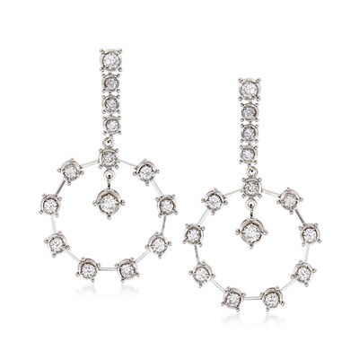 C. 1980 Vintage 1.55 ct. t.w. Diamond Drop Earrings in 14kt White Gold, , default