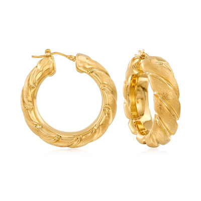 Italian Andiamo 14kt Gold Over Resin Embellished Hoop Earrings, , default