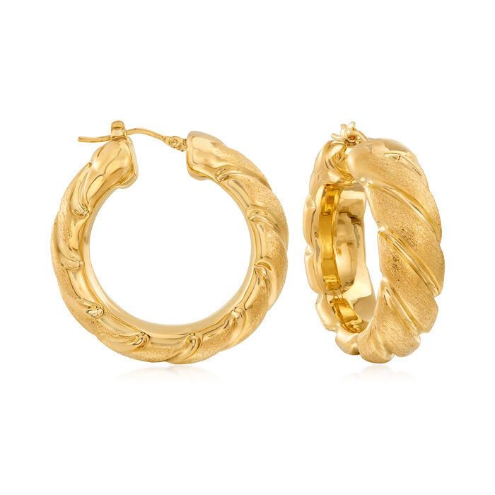 "Italian Andiamo 14kt Gold Over Resin Embellished Hoop Earrings. 1 1/4"", , default"