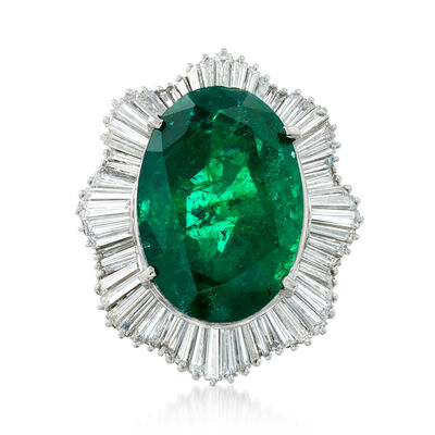 C. 2000 Vintage 11.89 Carat Zambian Emerald and 2.07 ct. t.w. Diamond Ring in Platinum, , default
