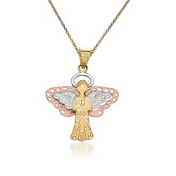 "14kt Two-Tone Gold Angel Pendant Necklace. 18"", , default"