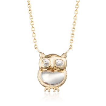 14kt Two-Tone Gold Owl Necklace, , default