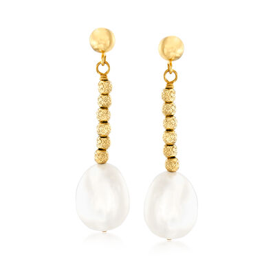 10-11mm Cultured Pearl and Bead Drop Earrings in 18kt Gold Over Sterling
