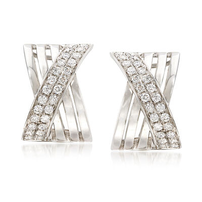 1.15 ct. t.w. Diamond Crisscross Drop Earrings in 14kt White Gold
