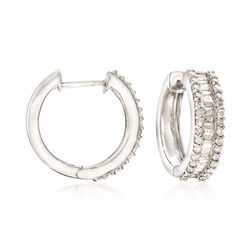 1.50 ct. t.w. Baguette and Round Diamond Hoop Earrings in Sterling Silver, , default