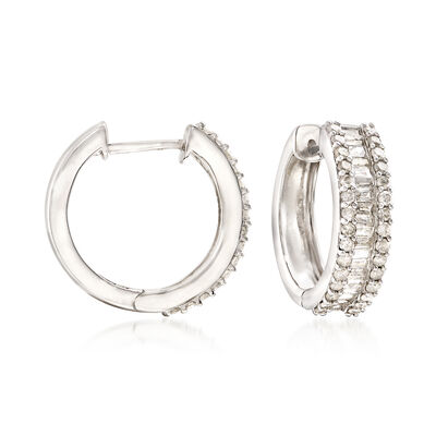 1.50 ct. t.w. Baguette and Round Diamond Hoop Earrings in Sterling Silver, , default