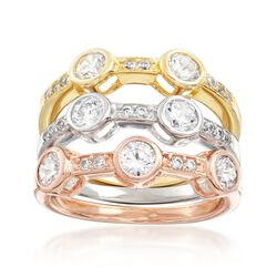 1.95 ct. t.w. CZ Jewelry Set: Three Rings in 18kt Tri-Colored Gold Over Sterling, , default