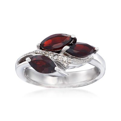 1.80 ct. t.w. Garnet Floral Ring with White Topaz Accents in Sterling Silver, , default