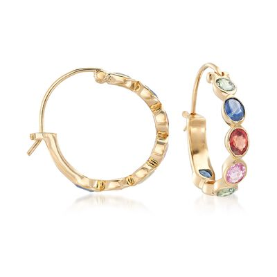 2.80 ct. t.w. Multicolored Sapphire Hoop Earrings in 18kt Yellow Gold Over Sterling Silver, , default