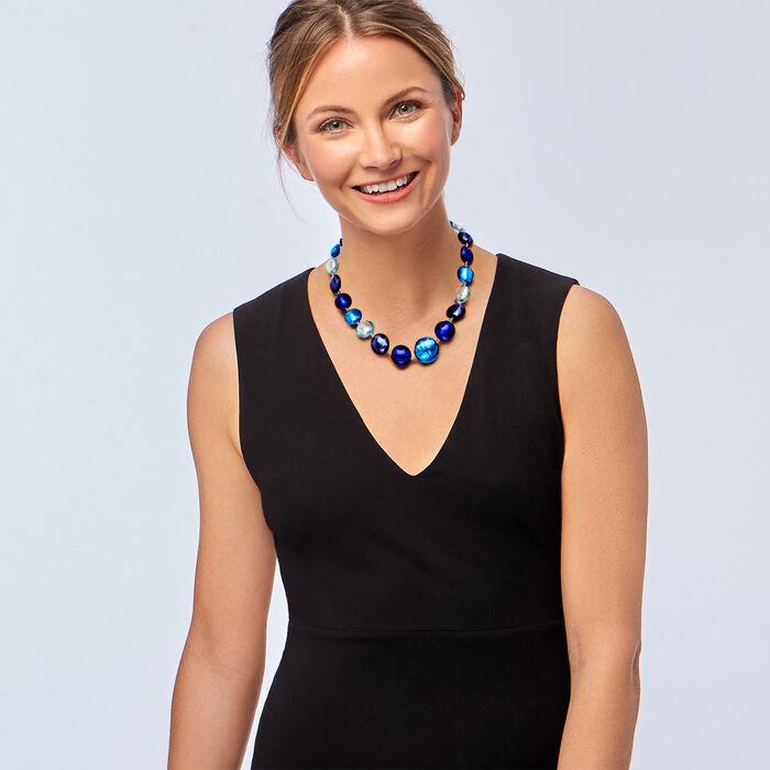 "Italian Blue Murano Bead Necklace in Sterling Silver. 18"""