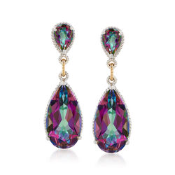 19.20 ct. t.w. Mystic Quartz Drop Earrings With 14kt Yellow Gold Accents in Sterling Silver, , default