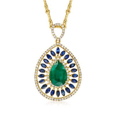 4.50 Carat Emerald, 1.60 ct. t.w. Sapphire and .94 ct. t.w. Diamond Teardrop Pendant Necklace