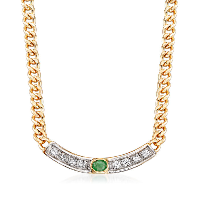 C. 1990 Vintage .15 ct. t.w. Emerald and .25 ct. t.w. Diamond Cable-Link Necklace in 14kt Yellow Gold