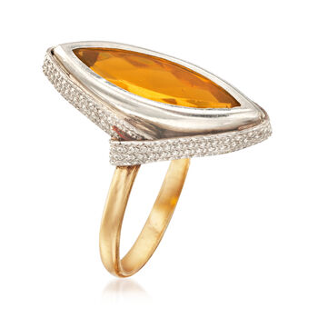 C. 1970 Vintage Yellow Glass Marquise Ring in 18kt Yellow Gold. Size 7