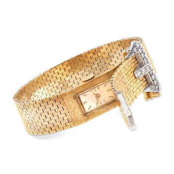 C. 1960 Vintage Women's Diamond Buckle Manual Watch in 14kt Yellow Gold. Size 7