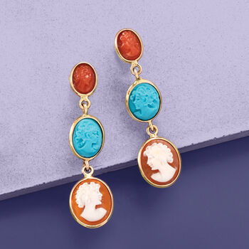 Italian Multicolored Cameo Drop Earrings in 18kt Gold Over Sterling