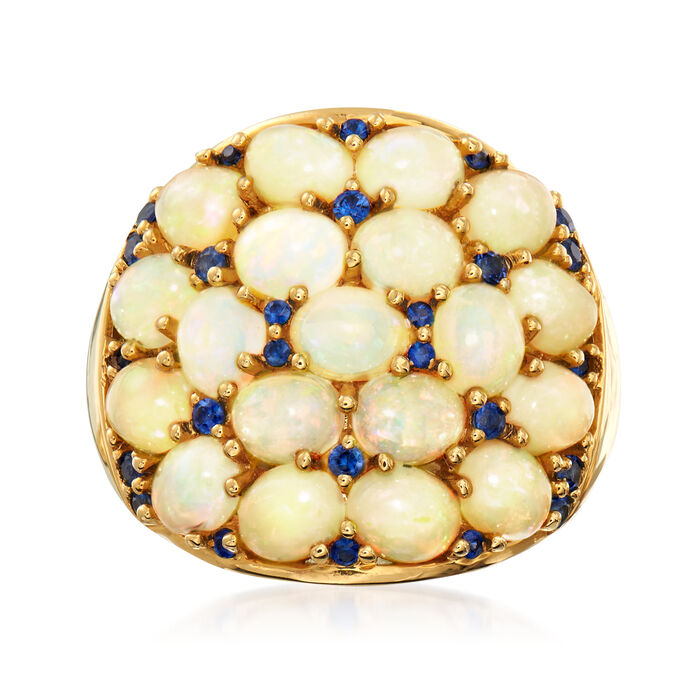 Ethiopian Opal and .40 ct. t.w. Sapphire Cocktail Ring in 18kt Yellow Gold
