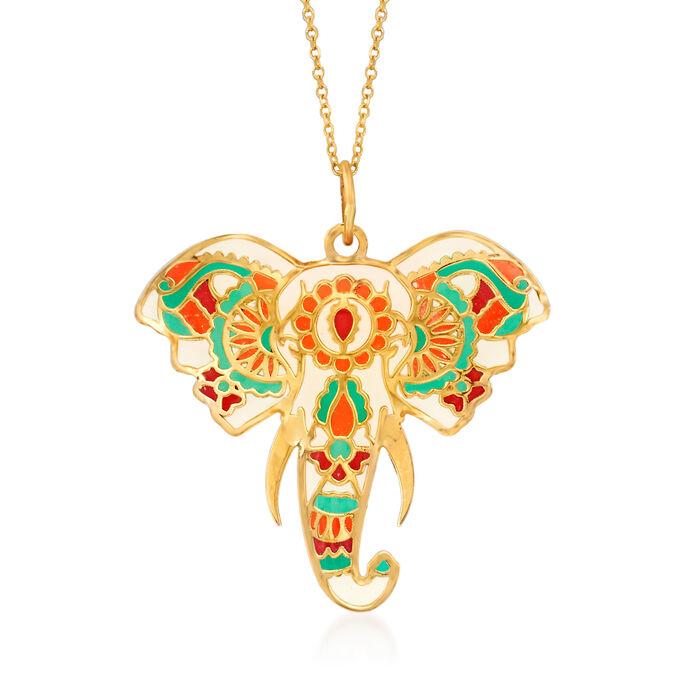 Multicolored Enamel Elephant Head Pendant Necklace in 14kt Yellow Gold