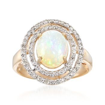 Ethiopian Opal and .37 ct. t.w. Diamond Ring in 14kt Yellow Gold, , default