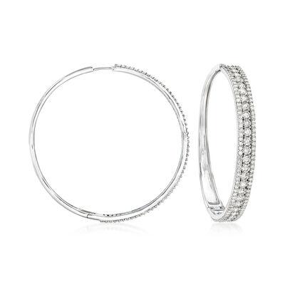 7.00 ct. t.w. Diamond Hoop Earrings in 14kt White Gold