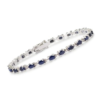 6.50 ct. t.w. Sapphire Bracelet with Diamond Accents in Sterling Silver, , default