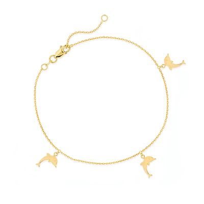 14kt Yellow Gold Dolphin Charm Anklet, , default