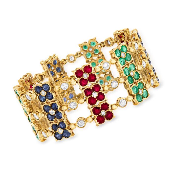 "C. 1980 Vintage 19.80 ct. t.w. Multi-Gemstone and 4.85 ct. t.w. Diamond Flower Bracelet in 18kt Yellow Gold. 6.75"", , default"