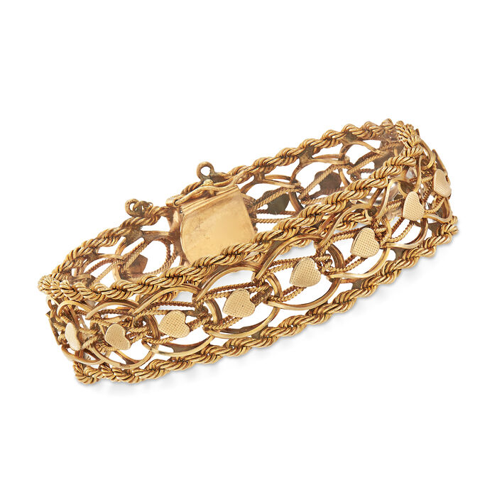 "C. 1960 Vintage Rope Heart Link Bracelet in 14kt Yellow Gold. 7.5"", , default"