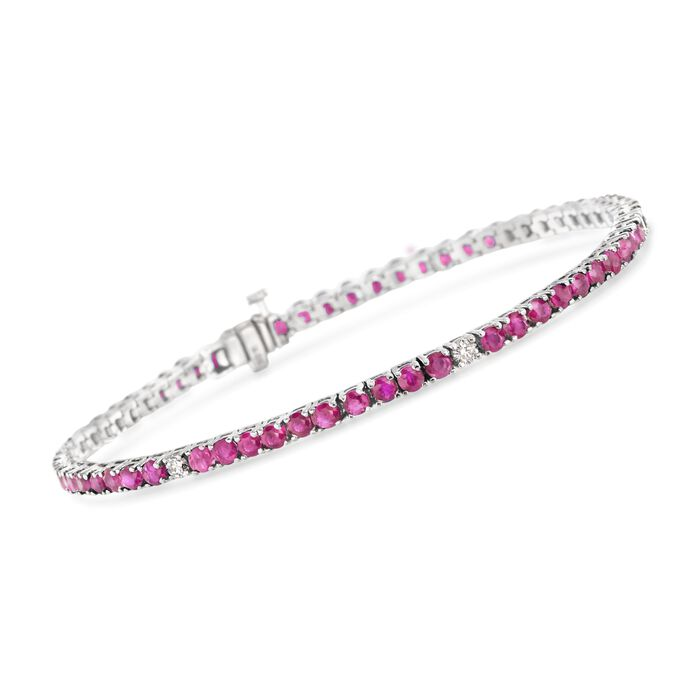 "6.25 ct. t.w. Ruby and .40 ct. t.w. Diamond Tennis Bracelet in 14kt White Gold. 7"", , default"
