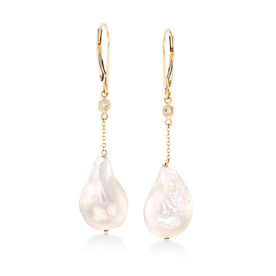 11-12mm Cultured Baroque Pearl Drop Earrings with Diamond Accents in 14kt Gold, , default