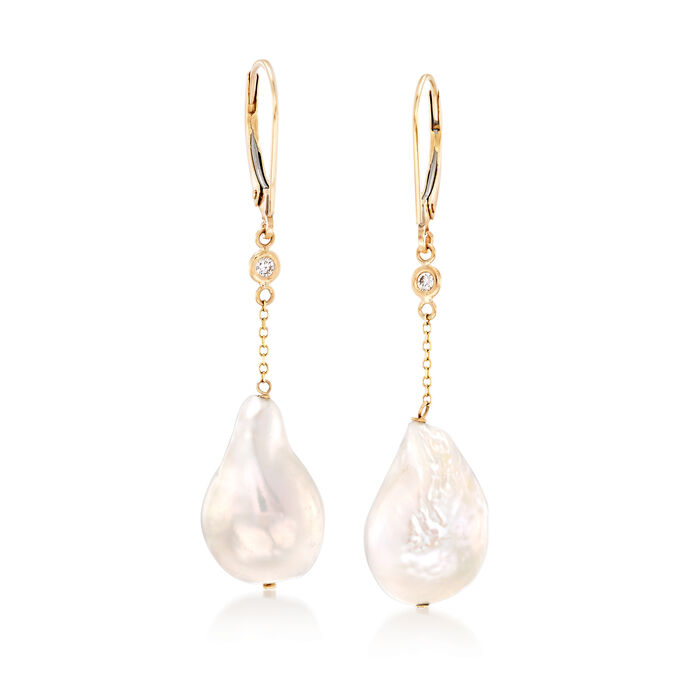 11-12mm Cultured Baroque Pearl Drop Earrings with Diamond Accents in 14kt Gold , , default