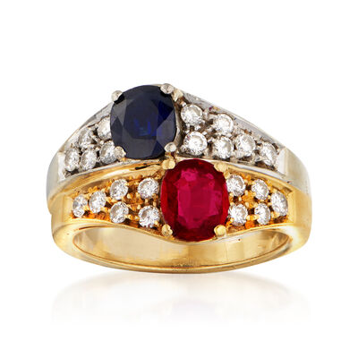 C. 1980 Vintage .85 Carat Sapphire, .65 Carat Ruby and .55 ct. t.w. Diamond Ring in 18kt Two-Tone Gold
