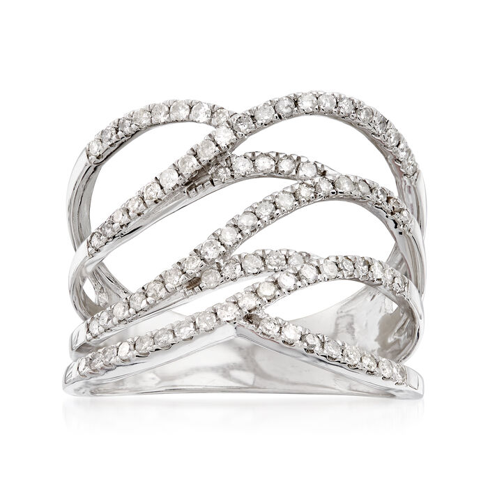 .50 ct. t.w. Diamond Multi-Row Open-Space Ring in Sterling Silver, , default