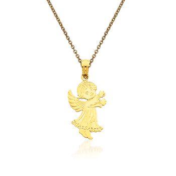"14kt Yellow Gold Angel Pendant Necklace. 18"", , default"