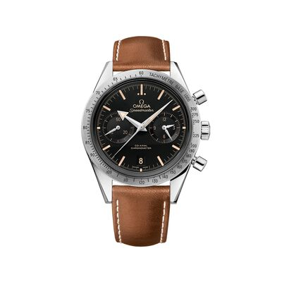 Omega Speedmaster 57 Men's 41.5mm Stainless Steel Watch With Black Dial and Brown Leather Strap, , default