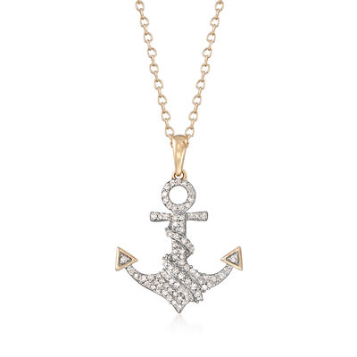 .20 ct. t.w. Diamond Anchor Pendant Necklace in 14kt Yellow Gold, , default
