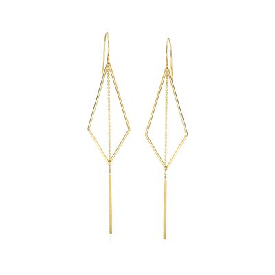 14kt Yellow Gold Geometric Drop Earrings with Linear Bars, , default
