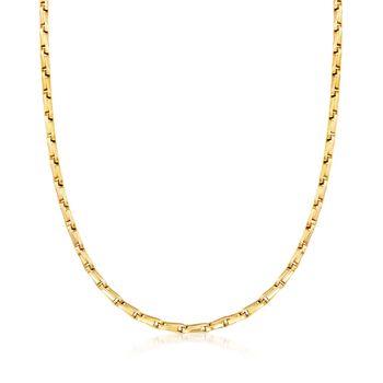 "C. 1990 Vintage Bulgari 3mm 18kt Yellow Gold Stirrup-Link Necklace. 24"", , default"
