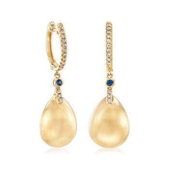 .20 ct. t.w. Diamond Teardrop Earrings with Sapphire Accents in 14kt Yellow Gold, , default