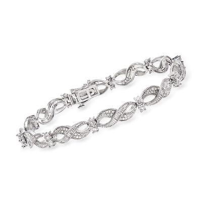 1.00 ct. t.w. Diamond Infinity-Link Bracelet in Sterling Silver