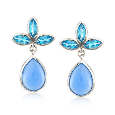 Blue Chalcedony and 4.20 ct. t.w. Swiss Blue Topaz Drop Earrings in Sterling Silver, , default