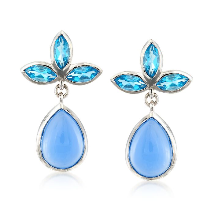 Blue Chalcedony and 4.20 ct. t.w. Swiss Blue Topaz Drop Earrings in Sterling Silver, , default
