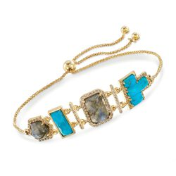 Turquoise and Labradorite Bolo Bracelet With 1.20 ct. t.w. White Topaz in 18kt Gold Over Sterling , , default