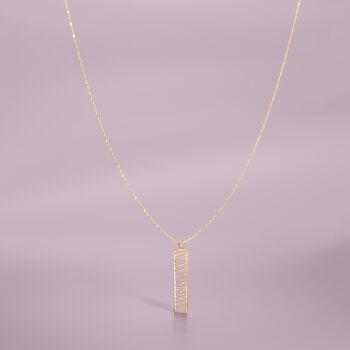 14kt Yellow Gold Roman Numeral Date Pendant Necklace, , default