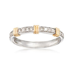 .20 ct. t.w. Diamond and 14kt Yellow Gold Bar Station Ring in Sterling Silver, , default