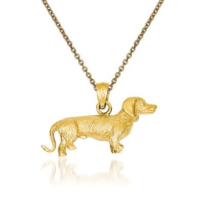 14kt Yellow Gold Dachshund Pendant Necklace, , default